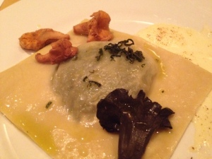 Spinach & Kale Raviolo, Garlic Custard, Pickled Trumpet & Chanterelle, Sage, With Devil's Backbone Reilly's Red Ale